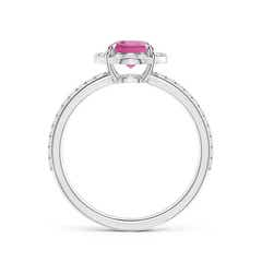Toggle Vintage Style Claw-Set Round Pink Tourmaline Halo Ring