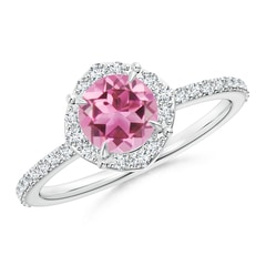 Claw-Set Vintage Diamond Halo Round Pink Tourmaline Ring