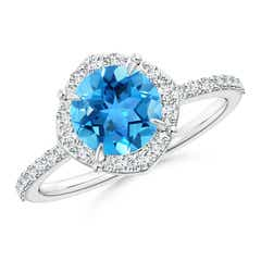 Claw-Set Vintage Diamond Halo Round Swiss Blue Topaz Ring