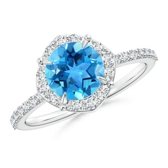 Vintage Style Claw-Set Round Swiss Blue Topaz Halo Ring