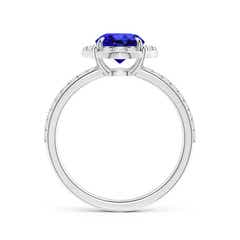 Toggle Vintage Style Claw-Set Round Tanzanite Halo Ring