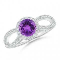 Vintage Style Amethyst Spilt Shank Ring with Diamond Halo