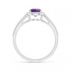 Toggle Vintage Style Amethyst Spilt Shank Ring with Diamond Halo
