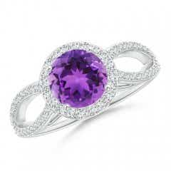 Vintage Split Shank Amethyst Ring with Diamond Halo