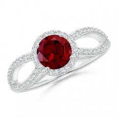Vintage Style Garnet Spilt Shank Ring with Diamond Halo