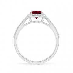 Toggle Vintage Style Garnet Spilt Shank Ring with Diamond Halo