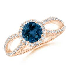 Angara Round London Blue Topaz Two Stone Bypass Ring with Diamonds M1VnY