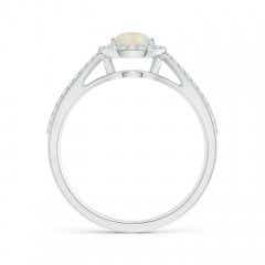 Toggle Vintage Style Opal Spilt Shank Ring with Diamond Halo