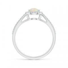 Toggle Vintage Style Opal Spilt Shank Ring with Diamond Halo
