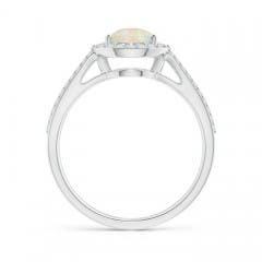 Vintage Split Shank Opal Ring with Diamond Halo