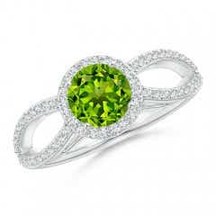 Vintage Style Peridot Spilt Shank Ring with Diamond Halo