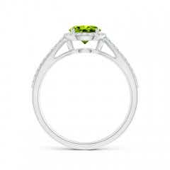 Toggle Vintage Style Peridot Spilt Shank Ring with Diamond Halo