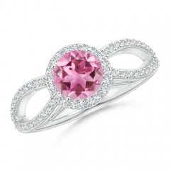 Vintage Style Pink Tourmaline Spilt Shank Ring with Halo