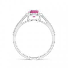 Toggle Vintage Style Pink Tourmaline Spilt Shank Ring with Halo