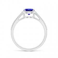 Toggle Vintage Style Tanzanite Spilt Shank Ring with Diamond Halo