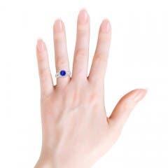 Vintage Split Shank Tanzanite Ring with Diamond Halo