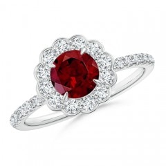Vintage Style Garnet Flower Ring with Diamond Accents
