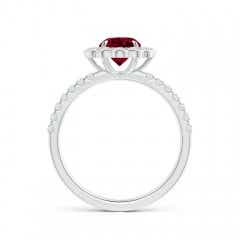 Toggle Vintage Style Garnet Flower Ring with Diamond Accents