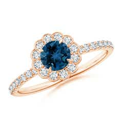 Vintage Style London Blue Topaz Flower Ring with Diamonds