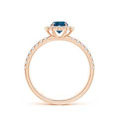 Toggle Vintage Style London Blue Topaz Flower Ring with Diamonds