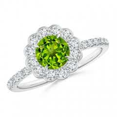 Vintage Style Peridot Flower Ring with Diamond Accents