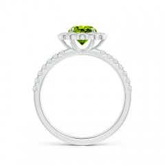 Toggle Vintage Style Peridot Flower Ring with Diamond Accents
