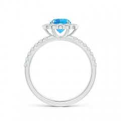 Toggle Vintage Style Swiss Blue Topaz Flower Ring with Diamonds