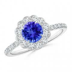 Vintage Style Tanzanite Flower Ring with Diamond Accents