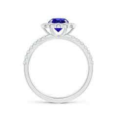 Toggle Vintage Style Tanzanite Flower Ring with Diamond Accents