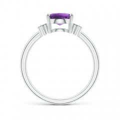 Toggle Solitaire Oval Amethyst Ring with Diamond Floral Accent