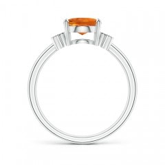 Toggle Solitaire Oval Citrine Ring with Diamond Floral Accent