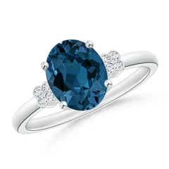 Angara Pear London Blue Topaz Ring with Triple Diamond Accents nJshBc7gAF