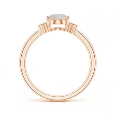Toggle Solitaire Oval Opal Ring with Diamond Floral Accent