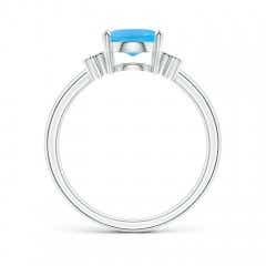 Toggle Solitaire Oval Swiss Blue Topaz Ring with Diamond Floral Accent