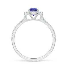 Toggle Floating Tanzanite Halo Ring with Diamond Accents