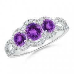 Floating Three Stone Amethyst Ring with Diamond Halo
