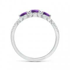 Toggle Floating Three Stone Amethyst Ring with Diamond Halo