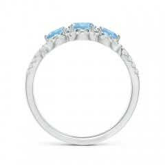 Toggle Floating Three Stone Aquamarine Ring with Diamond Halo