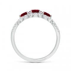 Floating Three Stone Garnet Ring with Diamond Halo