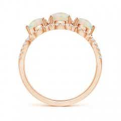 Toggle Floating Three Stone Opal Ring with Diamond Halo