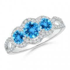 Floating Three Stone Swiss Blue Topaz Ring with Diamond Halo