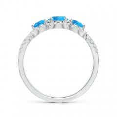 Toggle Floating Three Stone Swiss Blue Topaz Ring with Diamond Halo