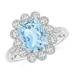 Cushion Aquamarine Ring with Diamond Floral Halo