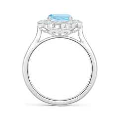 Toggle Cushion Aquamarine Ring with Diamond Floral Halo