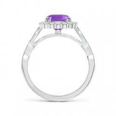 Toggle Cushion Amethyst Ring with Floral Halo