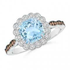 Cushion Aquamarine Halo Ring with Coffee and White Diamonds