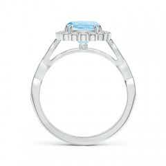 Toggle Cushion Aquamarine Halo Ring with Coffee and White Diamonds