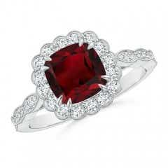 Cushion Garnet Ring with Floral Halo
