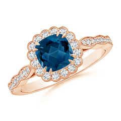 Cushion London Blue Topaz Ring with Floral Halo