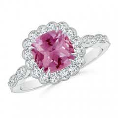 Cushion Pink Tourmaline Ring with Floral Halo